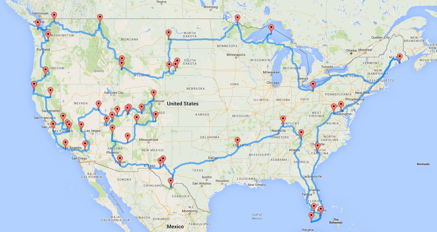 an optimal route to take you to all  national parks google maps roadtrip. national parks road trip  isle box